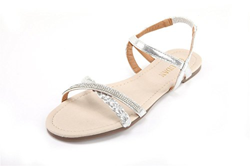 MUDAN Mu Dan Womens Shoe Flat Braided & Rhinestone Comfortable Slingback Sandal (9 B(M) US, silver)