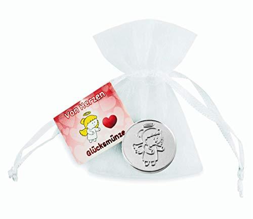 EnerChrom Schutzengel Glücksmünze - Von Herzen - Engel Lovely Lilli - 1 Stück - Farbe Silber - Glücksbringer Talisman