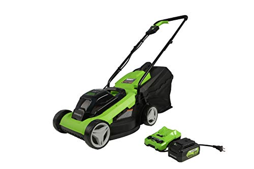 Greenworks 24V 13 inch Lawn Mower, 4Ah USB Battery and Charger Included MO24B410