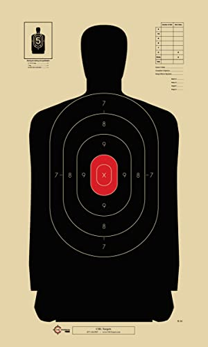 Official B-34 Target, 25 Yard Police Pistol Silhouette Target, Reduced from 50 Yard B-27 (Red, 25)