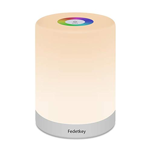 Fedetkey Night Light,LED Touch Control Chargeable Smart Bedside Table Lamp,RGB Color Changing Modes for Baby Kids Bedroom,Office,Camping