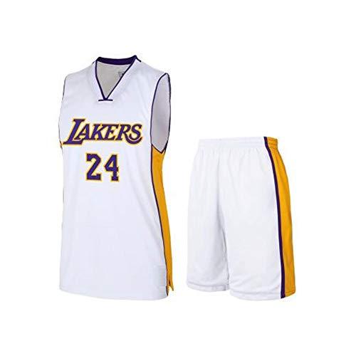 # 24 Kobe Lakers Basketballkleidung Anzug Jersey Anzug Weste T-Shirt Sportswear Fans Trainingskleidung Outfit Männer Teenager Jersey Shorts Anzug S-5XL-White-S