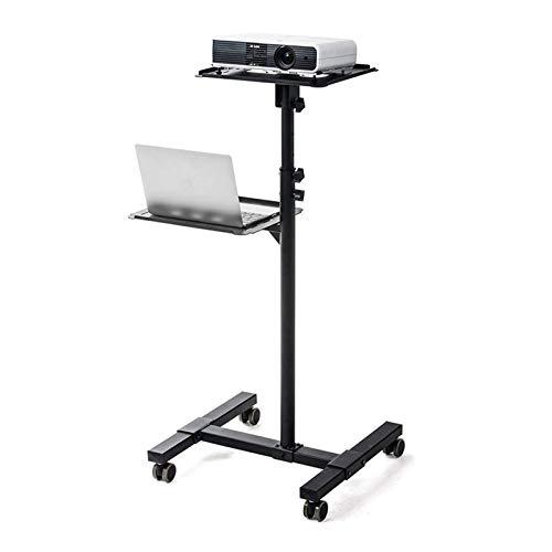 Montaje del proyector móvil proyector y Laptop Stand,balanceo de compras con la bandeja ventilada,Negro Altura ajustable del ordenador portátil y proyector Presentación de la carretilla,2 estan