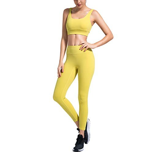 Quick-Drying High-Elastic Yoga Suit Women's Beautiful Back High Waist and Hips Solid Color Sports Suit Green Yellow-S