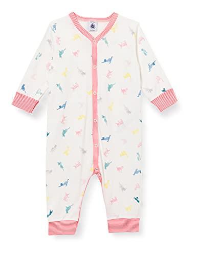 Petit Bateau Baby-Mädchen A00PG01 Nachthemd, Marshmallow/Multico, 3 Mois