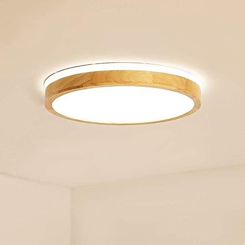 KAUTO Lámpara de Techo LED Moderna Regulable, lámpara de Techo de Montaje Empotrado de Madera acrílica Minimalista, lámpara de iluminación Circular de Forma Redonda con Control Remoto (40 cm)