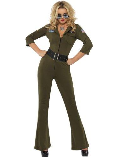 Smiffys, Damen Sexy Top Gun Aviator Kostüm, Overall und Gürtel, Top Gun, Größe: S, 32811