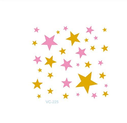 5 Feuilles60X60Mm Différent Petit Dessin Animé Métallique Argent Tatouage Temporaire Les Étoiles Et La Partie De Bachelor Métallique Flash Tatoo Autocollant-A10