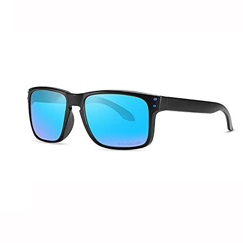 Gafas de sol polarizadas deportivas para hombres y mujeres Ciclismo Gafas Pesca Conducir Gafas UV400 PC gafas marco completo-C2 marco negro película azul hielo