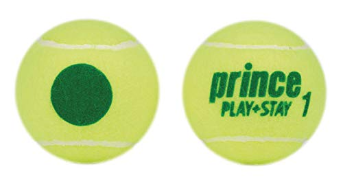 Prince Kids 'Play & Stay Stage 1 Green DOT Tennis, Giallo/Verde, lattina di 3 Palle