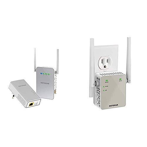 Netgear PLW1000 Powerline Set (1x Adapter AC-WLAN Access Point und 1x Adapter GB-LAN-Port) & WLAN Repeater EX6120 WLAN Verstärker, AC1200 Dual Band WiFi, Abdeckung 2 bis 3 Räume & 20 Geräte