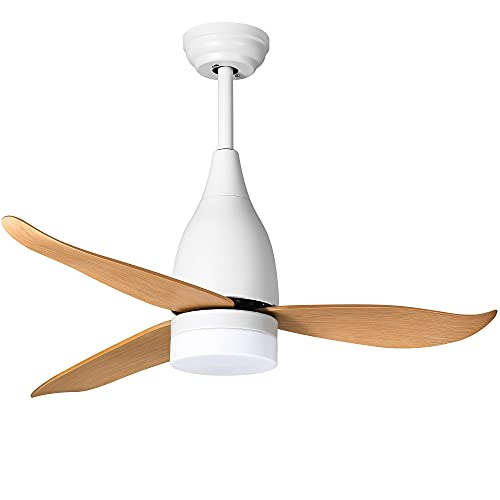 YITAHOME Modern Ceiling Fan with Light and Remote, 44 Inch Modern Fanlight with Integrated 3 Colors LED, 4 Timing, 3-Level Speeds for Indoor Outdoor (White) (Renewed)