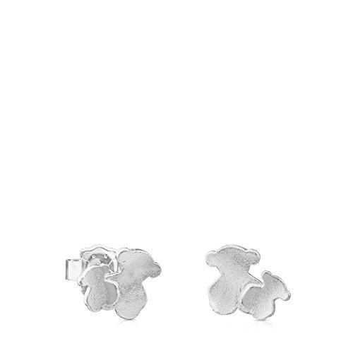 TOUS Hill Pendientes de Plata de Primera Ley con Dos Osos, Cierre a Presión - Motivo: 1 cm