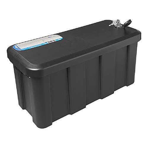 APT Caja de almacenamiento para remolque, 565 x 245 x 290 mm, color negro, caja colgante + candado, 2 llaves