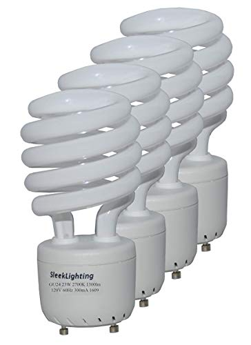 SleekLighting - GU24 23Watt 2700K 1600lm 2 Prong Light Bulbs- UL approved-120v 60Hz - Mini Twist Lock Spiral -Self Ballasted CFL Fluorescent Bulbs- 1600lm Warm White 4 Pack (100 Watt Equ)