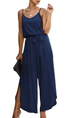 Spec4Y Mono largo para mujer, cuello en V, elegante, sin mangas, mono, mono azul marino XXL