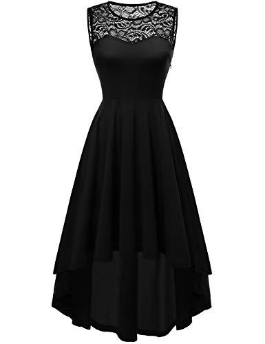 YOYAKER Damen Vintage Rockabilly Kleid Rundhals Ärmellos Cocktailkleid Elegant Spitzenkleid Vokuhila Festliche Party Abendkleider Black 2XL
