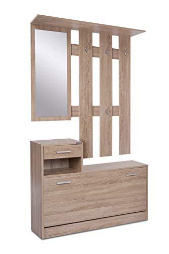 ts-ideen Garderobenset Set Wand-Garderobe Flurgarderobe mit Schuhschrank Spiegel Kommode Garderobe in Sonoma Eiche 98 cm Breite