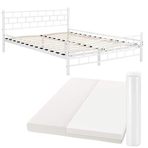 ArtLife Metallbett Malta 140 x 200 cm weiß – Komplett Set mit Matratze - Bett mit Lattenrost und Kaltschaummatratze – modern & massiv – große Liegefläche