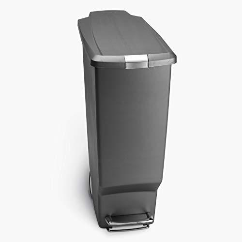 simplehuman, poubelle étroite à pédale, plastique gris, 40 litres
