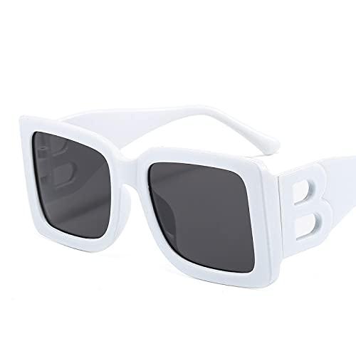 Gafas De Sol Gafas De Sol Cuadradas para Mujer, Tonos Negros De Gran Tamaño para Mujer, Gafas De Sol De Moda con Montura Grande, Gafas Uv400 para Mujer, Blanco