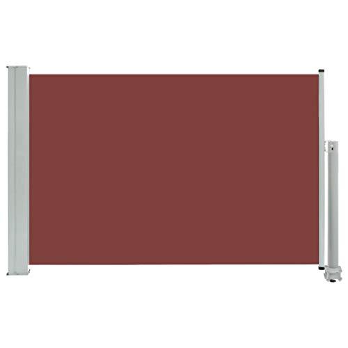 vidaXL Seitenmarkise Ausziehbar UV- und Wasserbeständig Sonnenschutz Sichtschutz Windschutz Seitenrollo Markise Balkon Garten Terrasse 60x300cm Braun