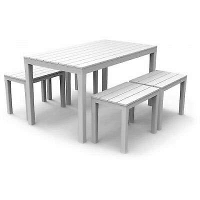 Tomaino Tavolo e sedie da Giardino in plastica Effetto Legno (Bianco)