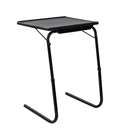 DREAMO Mesa auxiliar plegable, mesa de café, mesa de café ajustable, soporte portátil para cama, sofá, color negro