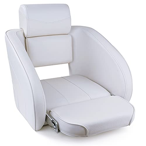 NORTHCAPTAIN X1 Premium Sport Flip Up Boat Seat Captain Bucket Seat with Headrest (D4-White)