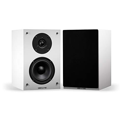 Fluance Elite High Definition 2-Way Bookshelf Surround Sound Speakers for 2-Channel Stereo Listening or Home Theater System - White/Pair (SX6WH)