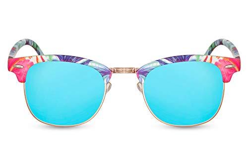 Cheapass Gafas de Sol Montura Rectangular Tropical Hawaï Estampadas Espejadas UV400
