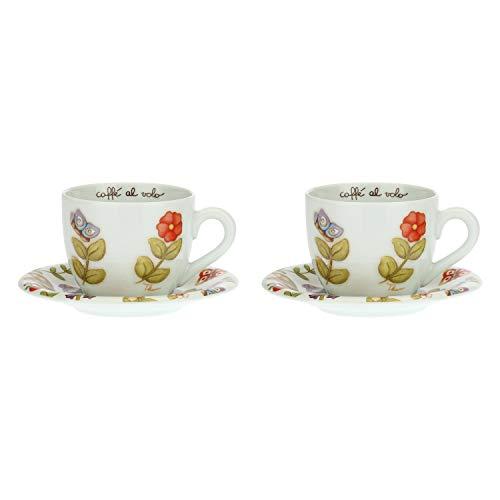 THUN  - Set 2 Tazze Grandi Country - Porcellana - 450 ml - Ø 10 cm - h 9 cm - piattino Ø 16 cm
