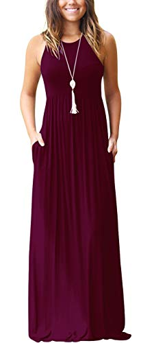 GRECERELLE Women's Sleeveless Casual Loose Pockets Maxi Party Long Dresses Wine Red-X-Large