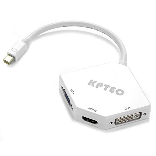 KPTEC Ultimate 3-in-1 Mini DP (Thunderbolt) to 4K UHD HDMI, DVI, VGA Adapter,Compact 1080p Mini Display (mDP) Converter Compatible for MacBook Air / Pro, iMac, iMac Mini, Surface Pro Series, White