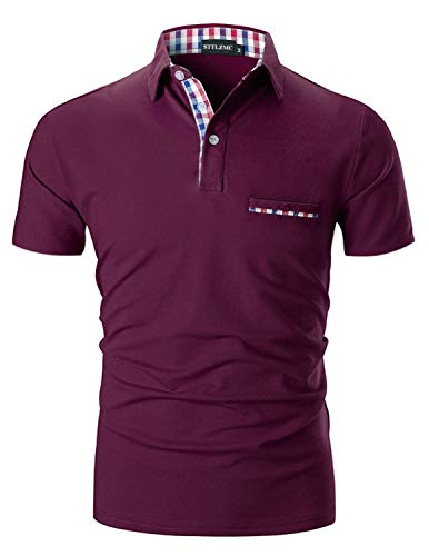 STTLZMC Casual Polo Hombre Mangas Corta Camisetas Deporte Algodón Clásico Plaid Cuello,Vino,XL