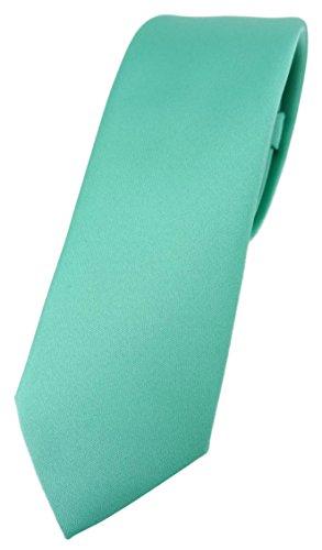 TigerTie Corbata de diseño estrecho en un solo color, ancho de corbata de 5,5cm, verde menta, Talla única