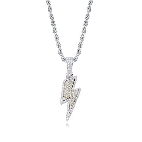 HMMJ Unisex Lightning Full Zircon Personalidad Hip Hop Colgante Collar de Cadena giratoria P19050004 (Color : Silver)