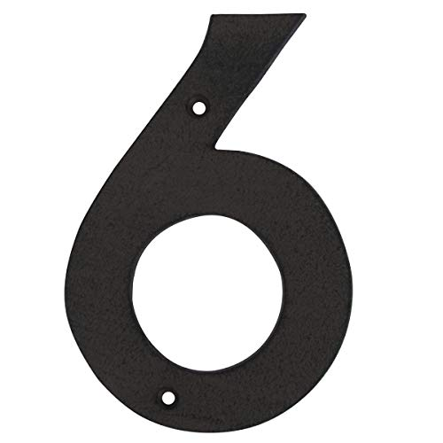 "Treasure Gurus 6"" Rustic Brown Cast Iron Metal House Address Number 6 Business Phone Numbers #6"