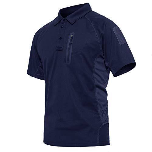 KEFITEVD Army Shirt Herren Sommer Outdoor Polyester Polo T-Shirt Leicht Kurzarm Wandershirt mit Tasche Radfahren Reisen Männer Arbeitsshirt Dunkelblau L