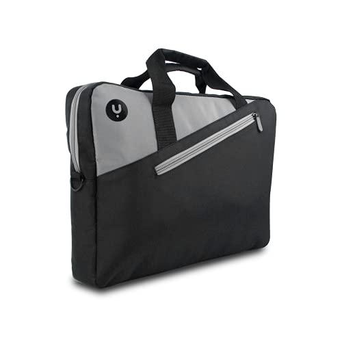 NGS GINGER BLACK14 - Sacoche pour Ordinateur Portable jusqu'à 14'', Sacoche avec Compartiments et Poche Extérieure, Couleur Noire et Anthracite