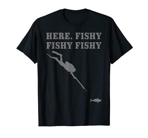 Pesca Submarina Aquí Pesca Divertido Buceo Libre Pescador Submarino Camiseta