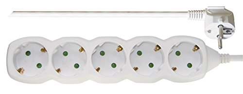 EMOS P0523 R Steckdosenleiste, 3 m Kabel, weiß, 1,5 mm, Steckdosen 45° gedreht, 5-Fach Schuko Mehrfachsteckdose mit Kindersicherung, IP20 für Innenbereich, 3680 W, 250 V