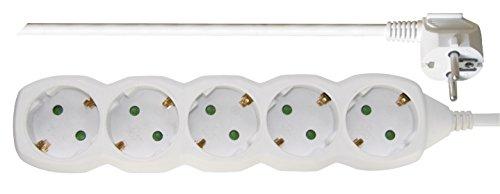 Emos P0525R Cable alargador-Regleta con 5 enchufes, 5 m, 3x1,5 mm2, Blanco, Bloqueo de Seguridad para niños