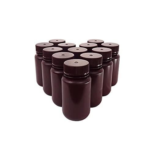 KENZIUM - Pack 12 x Frascos de HDPE con Tapa, Cuello Ancho, de 125 ml   Ámbar, Botellas Redondas Opacas, Boca Ancha de Polipropileno, Para Laboratorio, Almacenamiento Muestras Sólidas y Líquidas