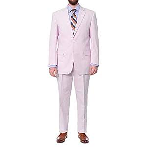 Emigre Classic Fit Blue Pinstriped Two Button Cotton Seersucker Suit