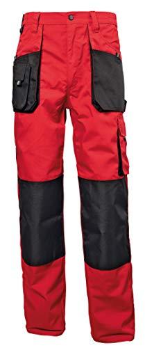 Stenso Emerton® - Herren Arbeitshose Bundhose/Cargohose - strapazierfähig - Rot/Schwarz EU54