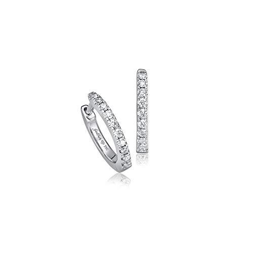 Juwelier Gelber Diamant Creolen mit 18 Brillanten 10mm Durchmesser (Weißgold)