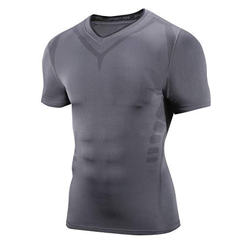 AMZSPORT Camicia a Compressione da UomoT-Shirt a Maniche Corte Raffreddare Strato di Base a Secco Top Attillato per Il Fitness, Grigio Scuro L