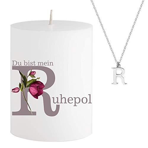 Spell Schmuck - Vela con Mensaje - Du BIST Mein R uhepol - Collar Plateado Escondido con Letra R - Vela aromática de Cerezo