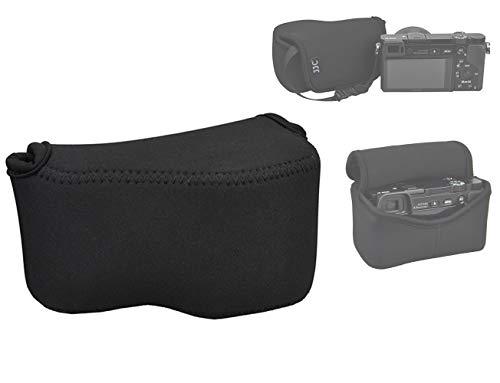 JJC Black Ultra Light Neoprene Camera Case Pouch Bag for Sony Alpha a6600 a6500 a6400 a6300 a6100 a6000 a5100 with Sony SELP1650 16-50mm Zoom Pancake Lens, Size 120 x 73 x 87mm (W x H x D)